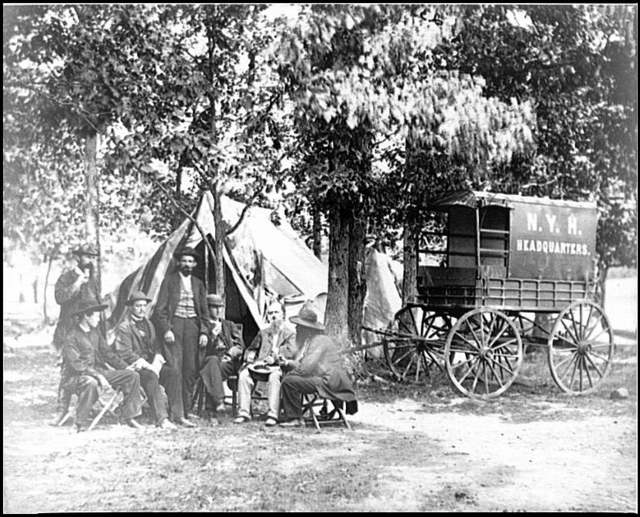 [Bealeton, Va. Group at tent and wagon of the New York Herald]