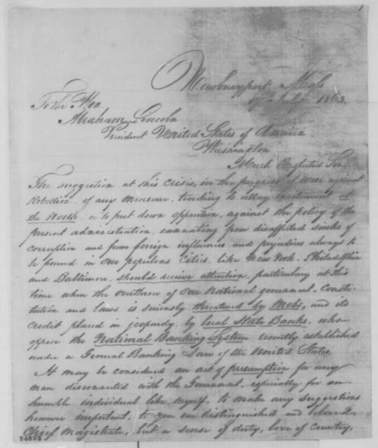 Benjamin Balch to Abraham Lincoln, Friday, July 17, 1863  (Political and financial affairs)