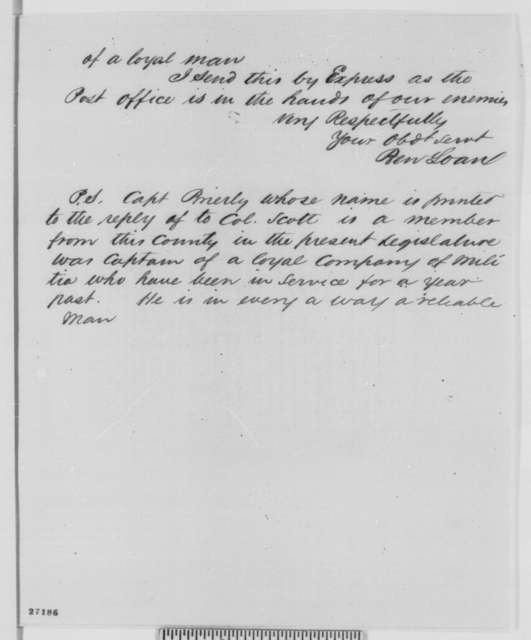 Benjamin F. Loan to Edwin M. Stanton, Monday, October 12, 1863  (Sends affidavits concerning military affairs in Missouri)