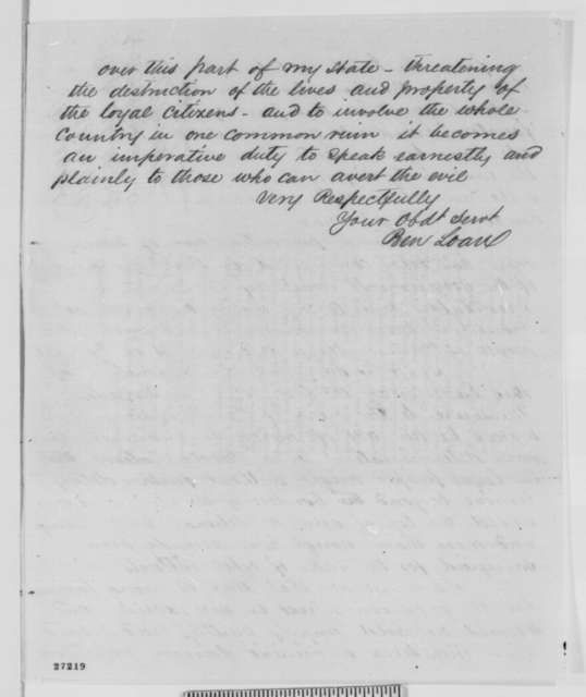 Benjamin F. Loan to Edwin M. Stanton, Tuesday, October 13, 1863  (Sends affidavits concerning military affairs in Missouri)