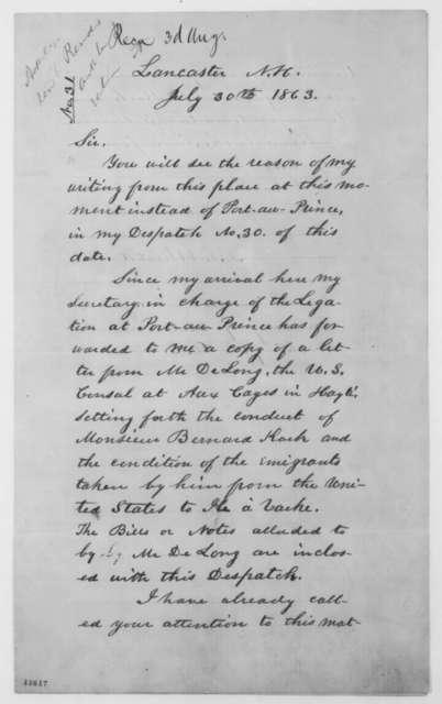 Benjamin F. Whidden to William H. Seward, Thursday, July 30, 1863  (Bernard Kock and Haitian colonization scheme)