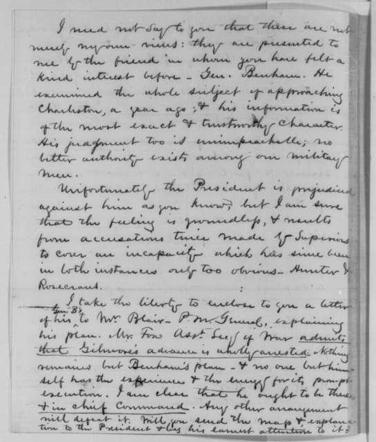 Benjamin N. Martin to Charles Sumner, Friday, October 23, 1863  (Military situation at Charleston)