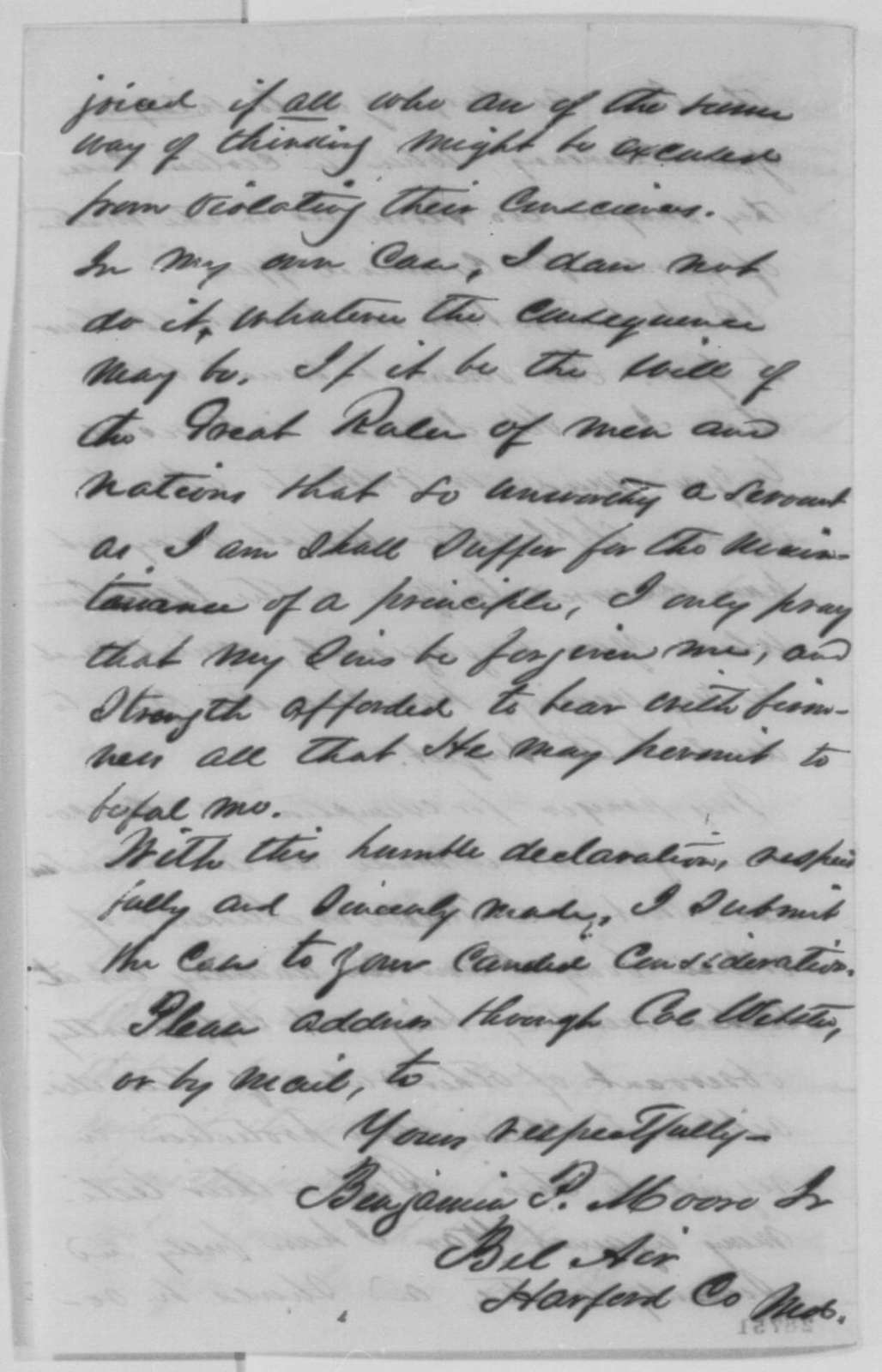 Benjamin P. Moore Jr. to Abraham Lincoln, Friday, December 18, 1863  (Requests exemption from military service because he is a conscientious objector)