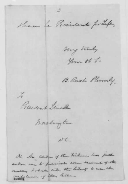 Benjamin Rush Plumly to Abraham Lincoln, Thursday, January 01, 1863  (Reaction to Emancipation Proclamation in Philadelphia)