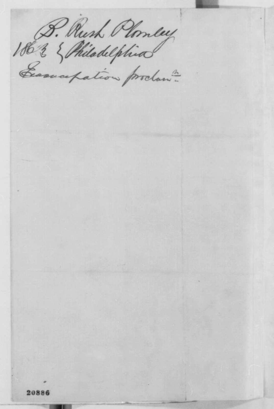 Benjamin Rush Plumly to Abraham Lincoln, Thursday, January 01, 1863  (Reaction to Emancipation Proclamation in Philadelphia)