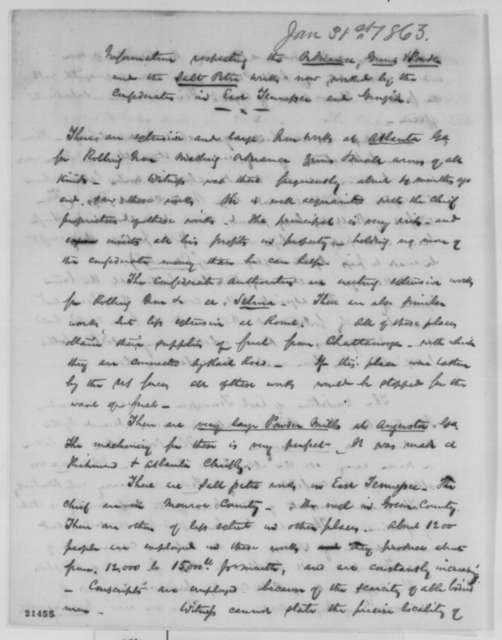 Benjamin Tatham, Saturday, January 31, 1863  (Memorandum on Confederate ordnance and gun powder in East Tennessee and Georgia)