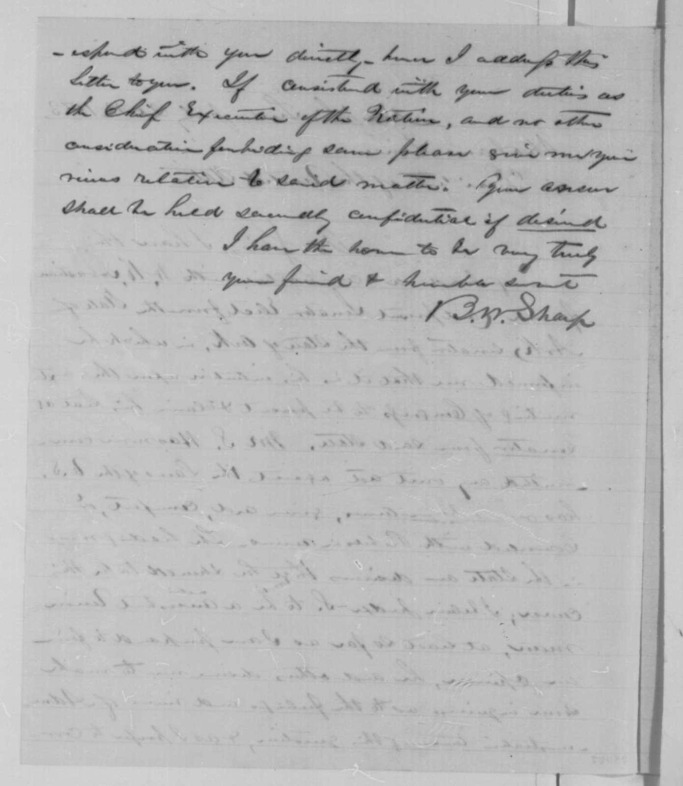 Benjamin W. Sharp to Abraham Lincoln, Monday, July 20, 1863  (Writes on behalf of William K. Sebastian)