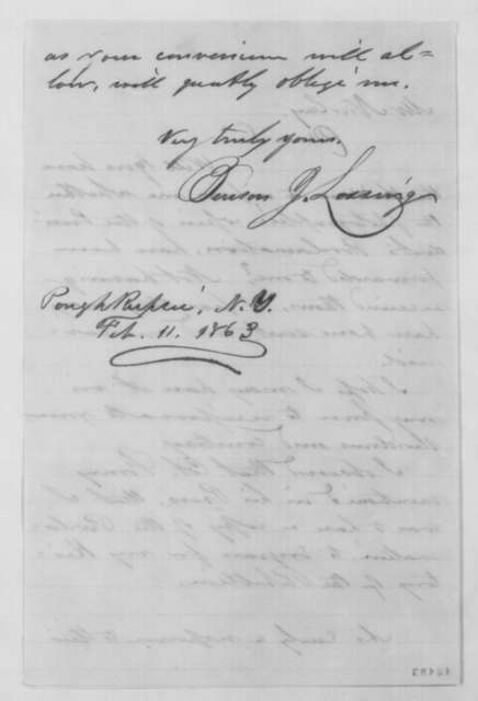 Benson J. Lossing to John G. Nicolay, Wednesday, February 11, 1863  (Photographic copy of Emancipation Proclamation)