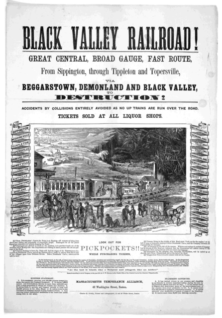 Black Valley railroad! Great central, broad gauge, fast route, from Sippington, through Tippleton and Topersville via Beggars-town, Demonland and Black Valley, to destruction! Accidents by collisions entirely avoided as no trains are run over th