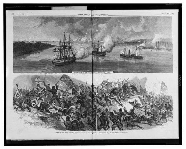 Bombardment of Port Hudson by Admiral Farragut's fleet Assault of the Second Louisiana (Colored) regiment on the Rebel works at Port Hudson, May 27 / / from a sketch by our special artist.