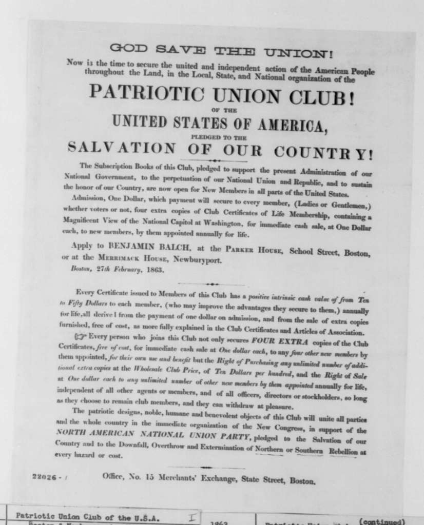 Boston Patriotic Union Club, Friday, February 27, 1863  (Printed Circular; with endorsements by Benjamin Balch)