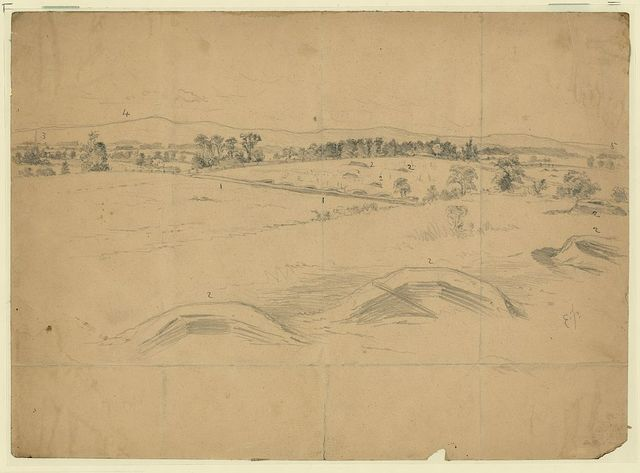 Breastworks near Williamsport, Md., thrown up by Gen. Lee's army, on its retreat toward the Potomac