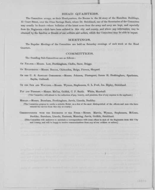 Brooklyn & Kings County New York War Fund Committee, Tuesday, December 22, 1863  (Printed)