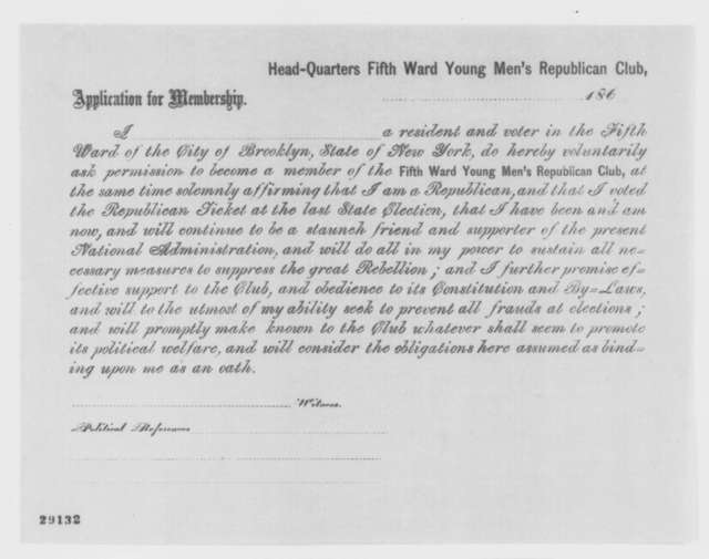 Brooklyn New York Young Mens Republican Club,  1863  (Printed application form)