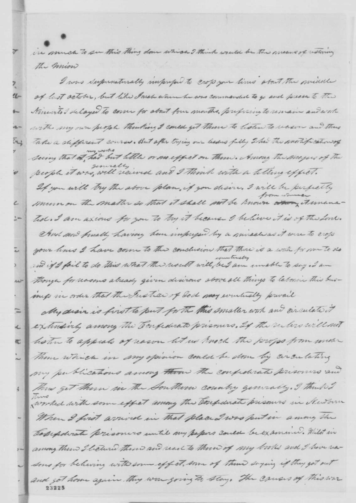 Bryan Tyson to Abraham Lincoln, Thursday, April 30, 1863  (Efforts on behalf of the Union)