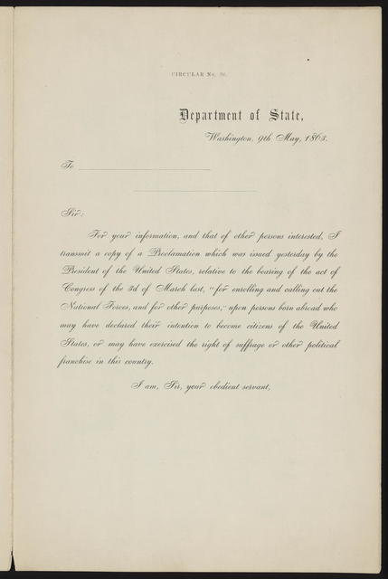 By the President of the United States of America. A proclamation, [Includes form on second page].