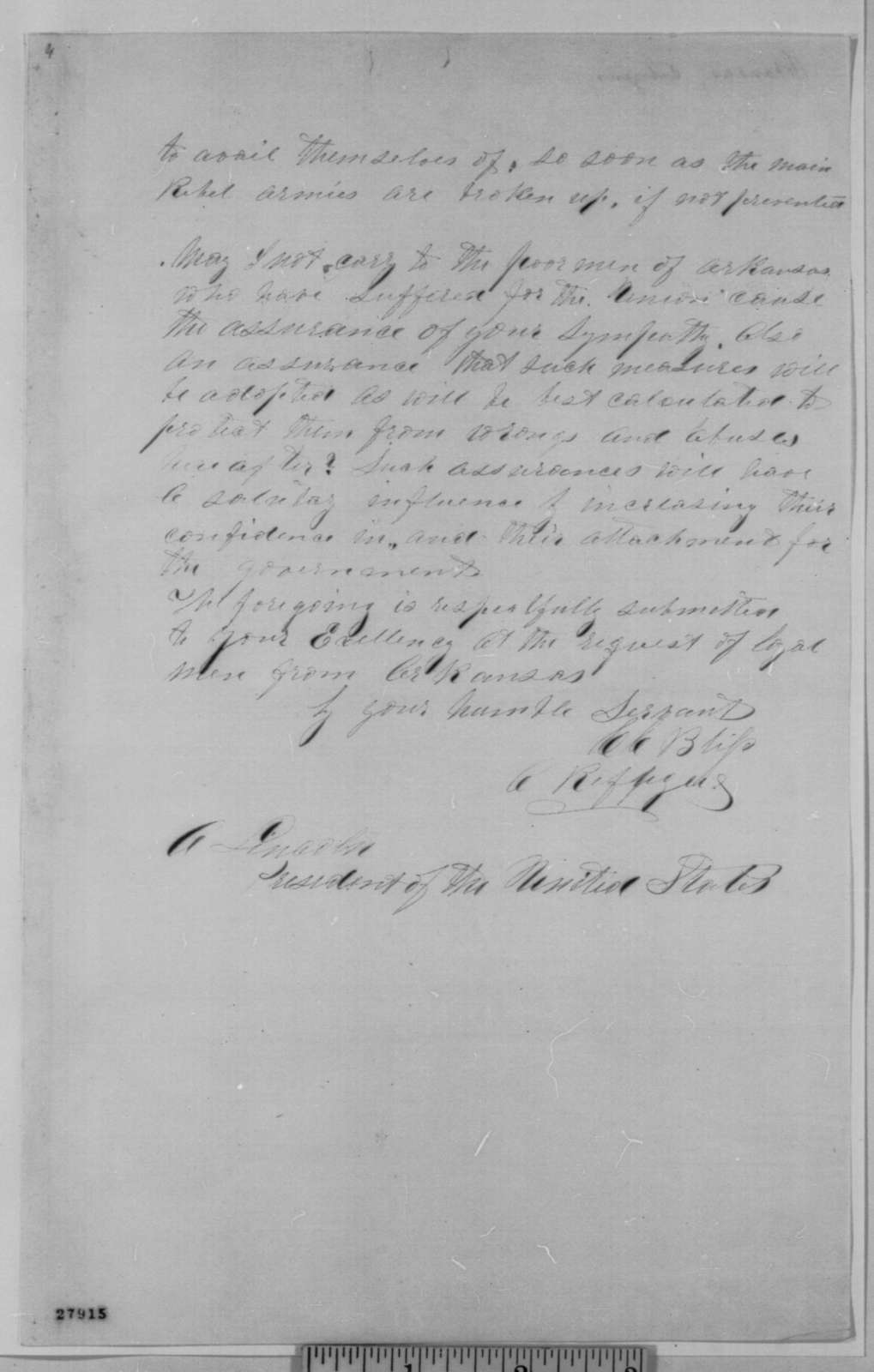 C. C. Bliss to Abraham Lincoln, Monday, November 09, 1863  (Political affairs in Arkansas)