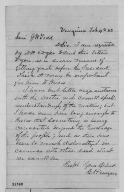 C. H. Morgan to J. H. Todd, Wednesday, February 04, 1863  (Affairs in Nevada Territory)