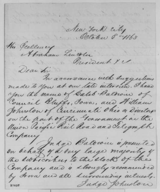 C. S. Bushnell to Abraham Lincoln, Thursday, October 08, 1863  (Recommendations for directors of Union Pacific Railroad)