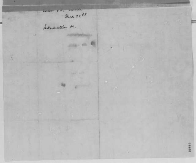 Caleb B. Smith to Abraham Lincoln, Monday, March 23, 1863  (Introduces James Blake)