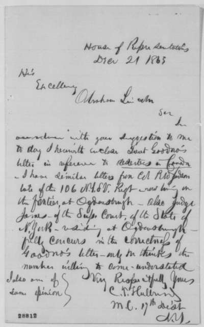 Calvin T. Hulburd to Abraham Lincoln, Monday, December 21, 1863  (Deserters in Canada)