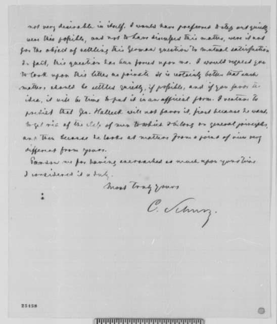 Carl Schurz to Abraham Lincoln, Saturday, August 08, 1863  (Breaking up of 11th Corps)