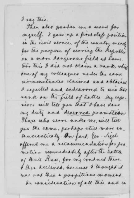 Carl Schurz to Abraham Lincoln, Saturday, February 14, 1863  (Seeks promotion for himself and Alexander Schimmelfennig)
