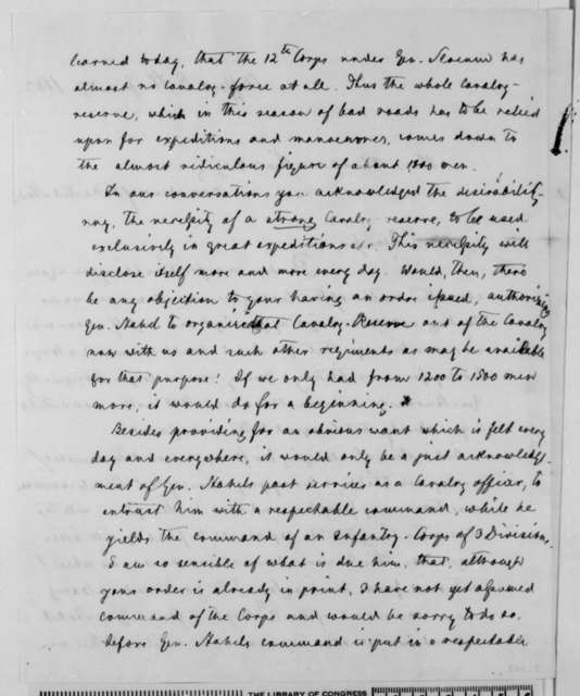 Carl Schurz to Abraham Lincoln, Saturday, January 24, 1863  (Reserve cavalry division)