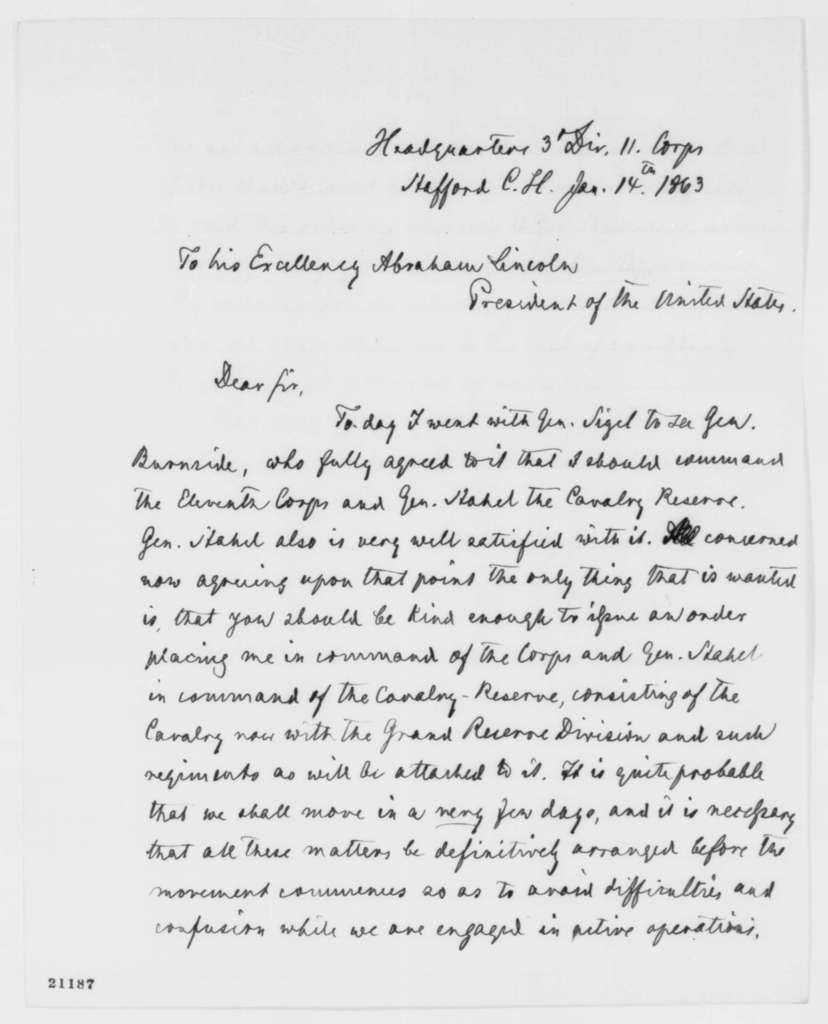Carl Schurz to Abraham Lincoln, Wednesday, January 14, 1863  (Seeks command of IX Corps)