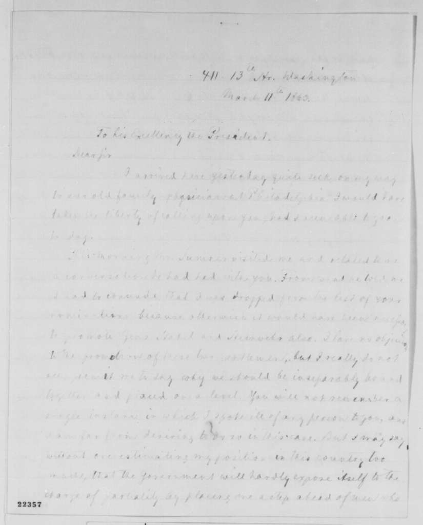 Carl Schurz to Abraham Lincoln, Wednesday, March 11, 1863  (Political affairs)