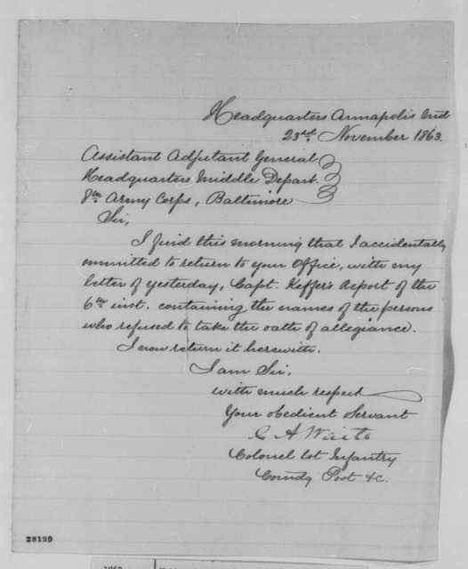 Carlos A. Waite to Assistant Adjutant General, 8th Army Corps, Monday, November 23, 1863  (Cover letter)