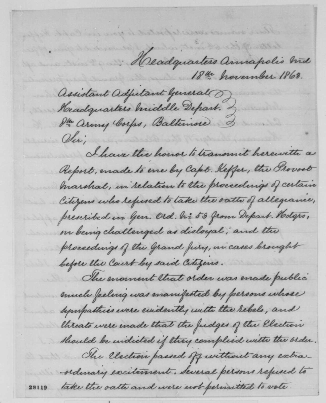 Carlos A. Waite to Assistant Adjutant General, 8th Army Corps, Wednesday, November 18, 1863  (Sends report concerning disloyal persons in Maryland)