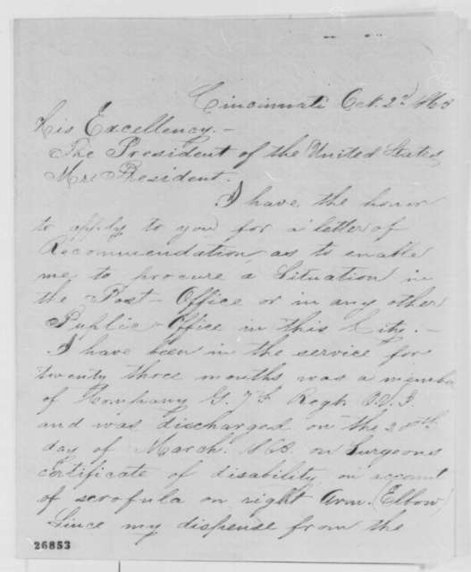 Caspar Keller to Abraham Lincoln, Friday, October 02, 1863  (Requests letter of recommendation)