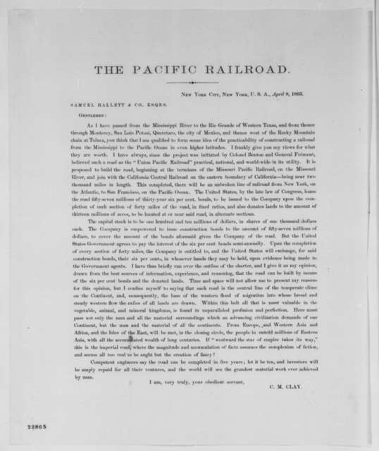 Cassius M. Clay to Samuel Hallett & Co., Wednesday, April 08, 1863  (Printed letter)