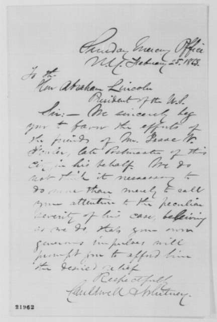 Cauldwell & Whitney to Abraham Lincoln, Wednesday, February 25, 1863  (Case of Isaac Fowler)
