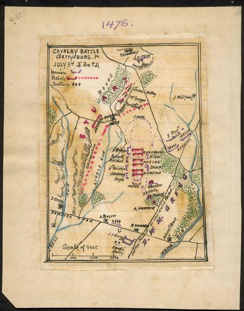Cavalry battle, Gettysburg, Pa. July 3rd 3:30 p.m.
