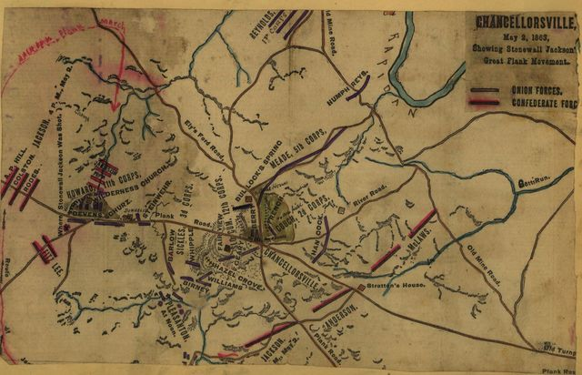 Chancellorsville, May 2, 1863, showing Stonewall Jackson's great flank movement