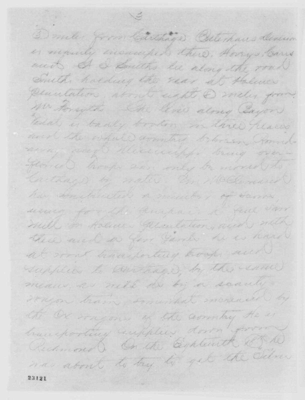 Charles A. Dana to Edwin M. Stanton, Monday, April 20, 1863  (Telegram reporting military situation in Grant's command)
