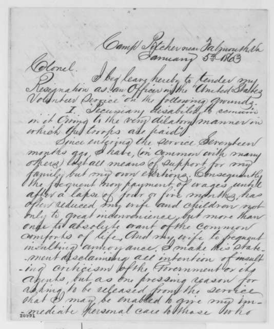Charles B. Sloan to Joseph Dickinson, Monday, January 05, 1863  (Resignation from army; with endorsements)