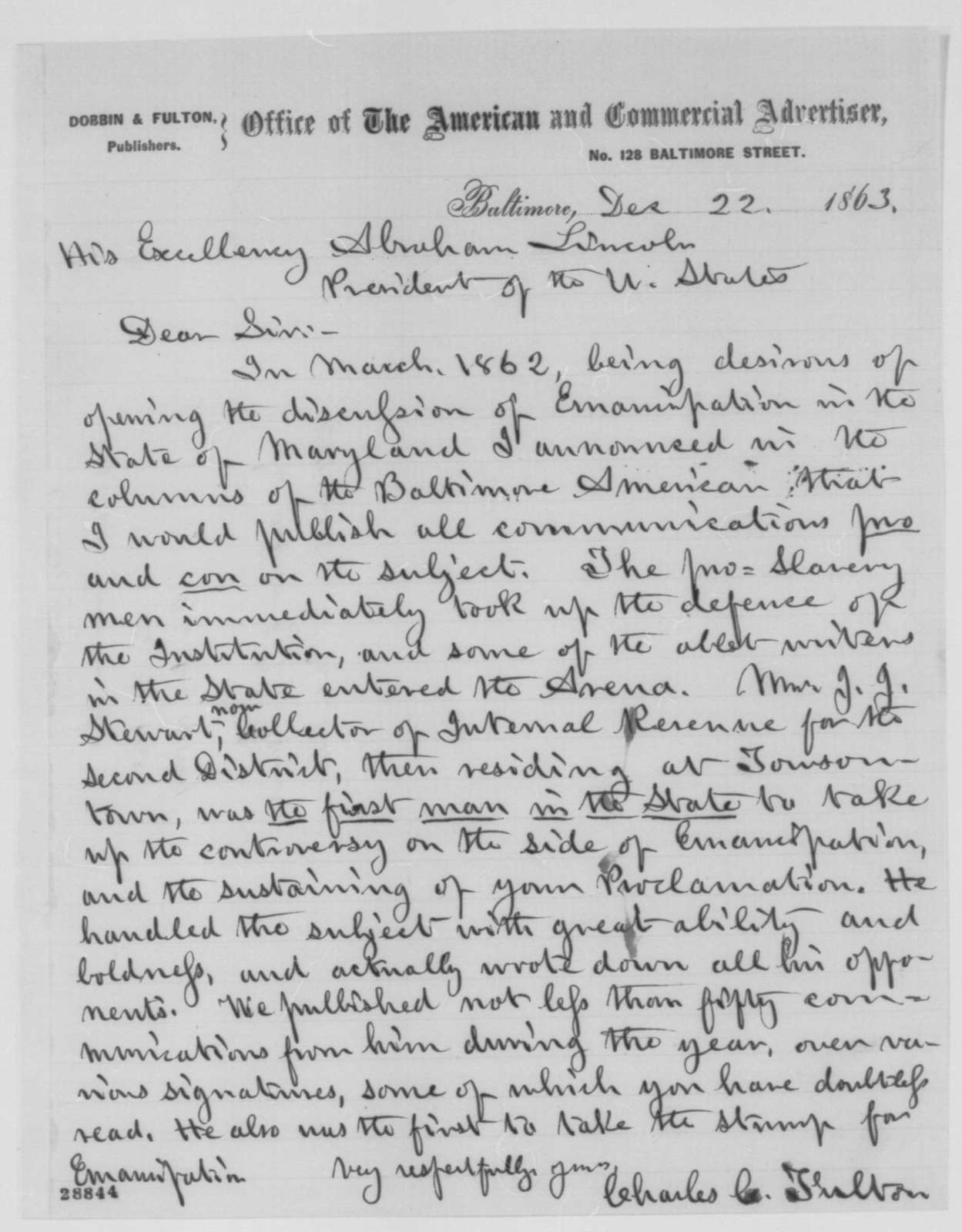 Charles C. Fulton to Abraham Lincoln, Tuesday, December 22, 1863  (J. J. Stewart's position on emancipation)