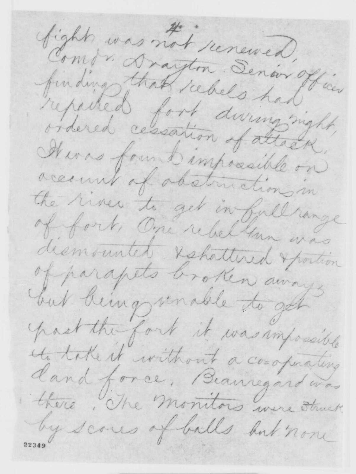 Charles C. Fulton to Gustavus V. Fox, Wednesday, March 11, 1863  (Telegram concerning naval affairs at Fort Monroe)