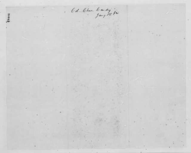 Charles Candy to Henry W. Slocum, Thursday, January 01, 1863  (Telegram regarding military affairs in Virginia)