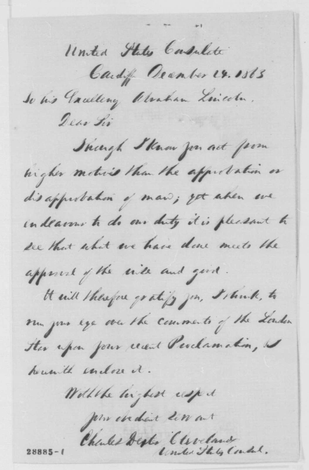 Charles D. Cleveland to Abraham Lincoln, Thursday, December 24, 1863  (Sends newspaper clipping)