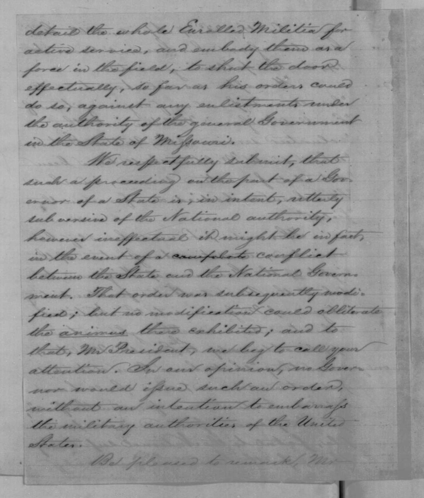 Charles D. Drake to Abraham Lincoln, Saturday, October 03, 1863  (Military affairs in Missouri)