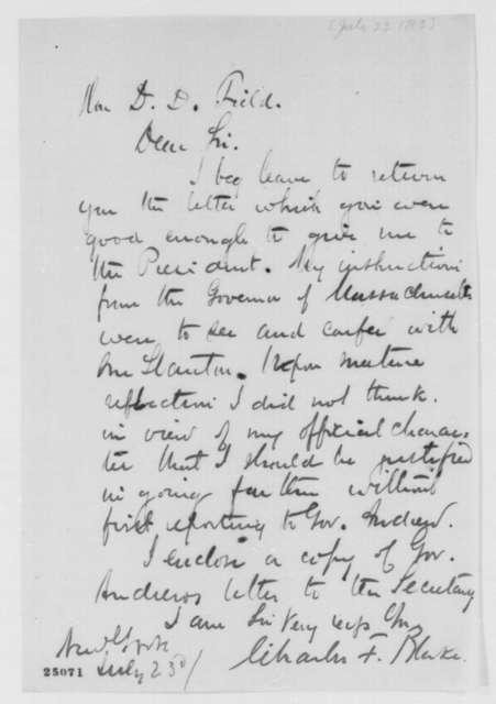 Charles F. Blake to David D. Field, Thursday, July 23, 1863  (Returns letter)