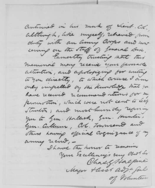 Charles G. Halpine to Abraham Lincoln, Saturday, September 19, 1863  (Requests promotion)