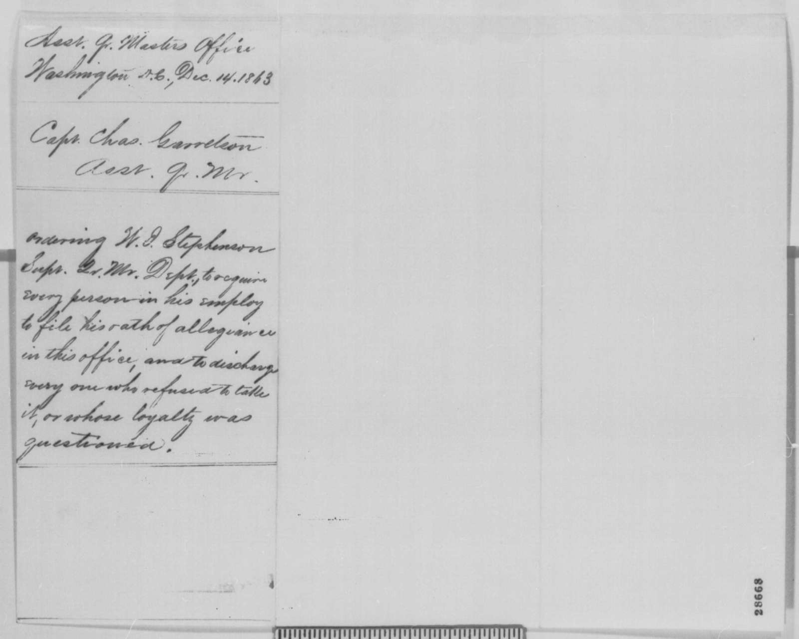 Charles Garretson to W. J. Stephenson, Monday, December 14, 1863  (Loyalty oath for employees in the quartermaster department)