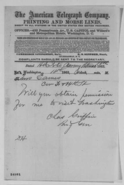 Charles Griffin to Mrs. Eames, Saturday, July 18, 1863  (Telegram asking her to obtain permission for him to visit Washington)