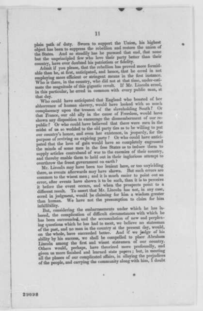 """Charles Hudson,  1863  (Printed Pamphlet: """"Character of Abraham Lincoln, President of the United States"""")"""