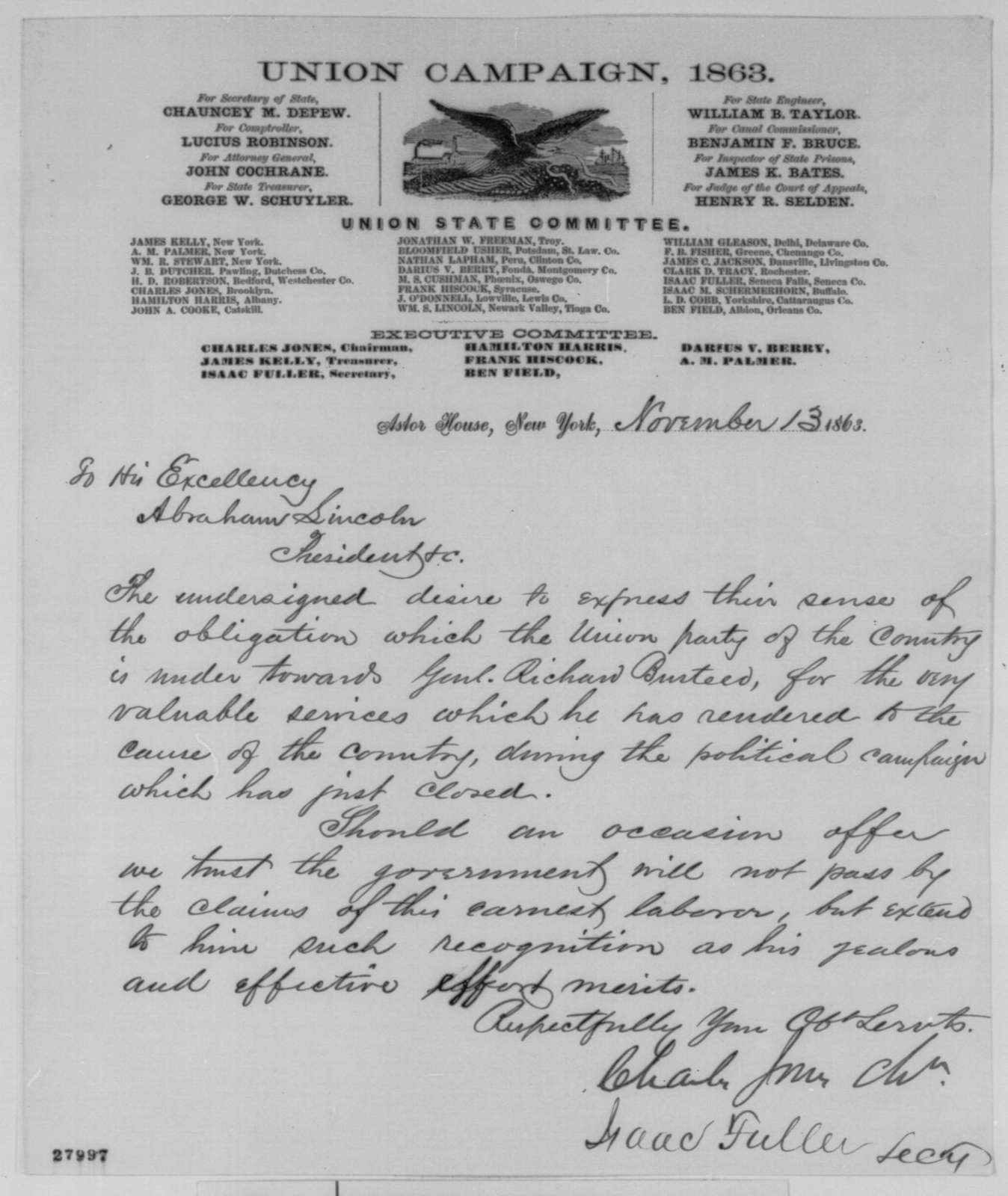 Charles Jones and Isaac Fuller to Abraham Lincoln, Friday, November 13, 1863  (Praise General Busteed for his work in the recent political campaign)